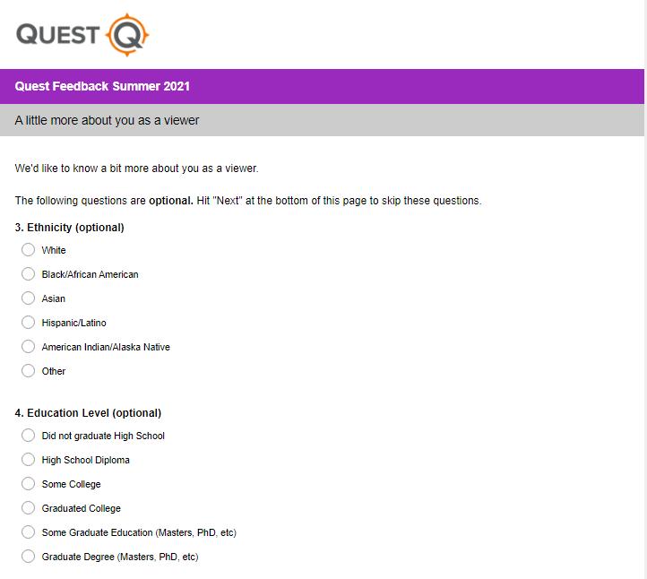 quest tv survey